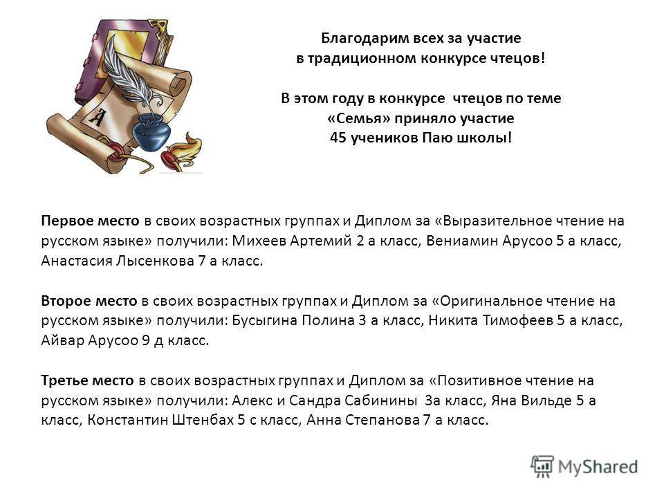 Первое место в своих возрастных группах и Диплом за «Выразительное чтение на русском языке» получили: Михеев Артемий 2 а класс, Вениамин Арусоо 5 а класс, Анастасия Лысенкова 7 а класс. Второе место в своих возрастных группах и Диплом за «Оригинально