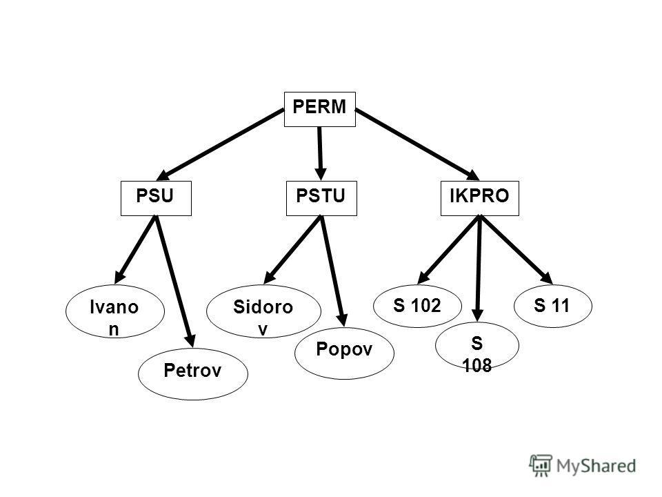 PERM PSUPSTU IKPRO Ivano n Petrov Sidoro v Popov S 102 S 108 S 11