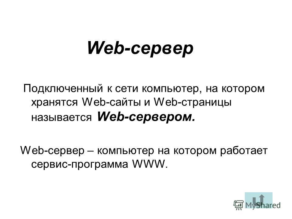 Подключенный к сети компьютер, на котором хранятся Web-сайты и Web-страницы называется Web-сервером. Web-сервер – компьютер на котором работает сервис-программа WWW. Web-сервер