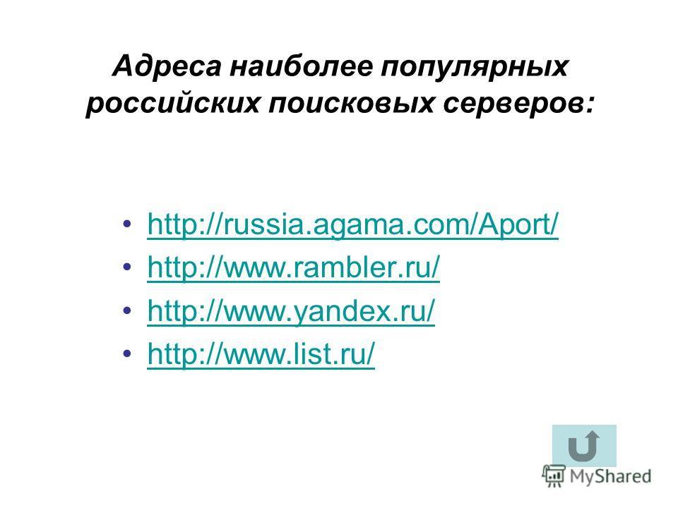 Адреса наиболее популярных российских поисковых серверов: http://russia.agama.com/Aport/http://russia.agama.com/Aport/ http://www.rambler.ru/http://www.rambler.ru/ http://www.yandex.ru/http://www.yandex.ru/ http://www.list.ru/http://www.list.ru/