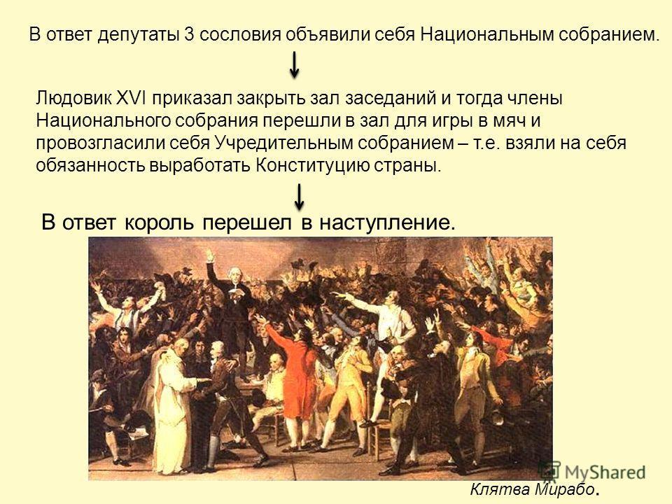 В ответ депутаты 3 сословия объявили себя Национальным собранием. Людовик XVI приказал закрыть зал заседаний и тогда члены Национального собрания перешли в зал для игры в мяч и провозгласили себя Учредительным собранием – т.е. взяли на себя обязаннос