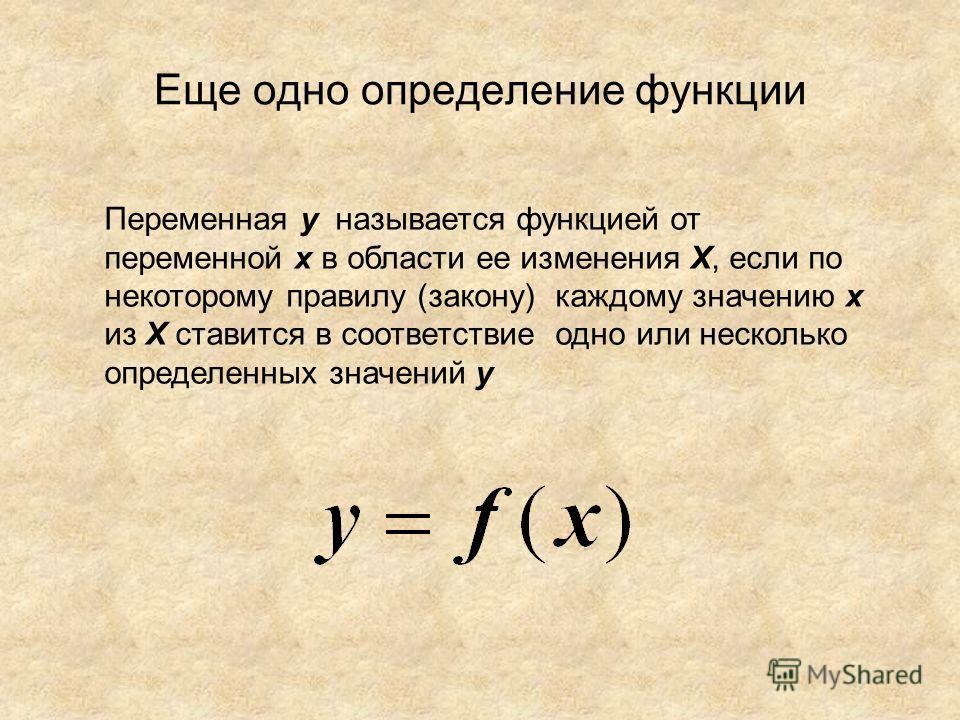 Еще одно определение функции Переменная y называется функцией от переменной х в области ее изменения Х, если по некоторому правилу (закону) каждому значению х из Х ставится в соответствие одно или несколько определенных значений y
