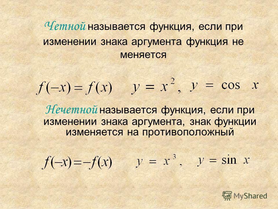 Четной называется функция, если при изменении знака аргумента функция не меняется Нечетной называется функция, если при изменении знака аргумента, знак функции изменяется на противоположный