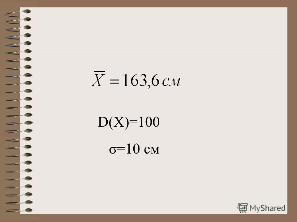 D(X)=100 σ=10 см