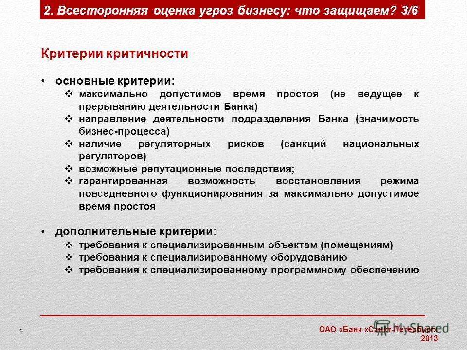 ОАО «Банк «Санкт-Петербург» 2013 Критерии критичности основные критерии: максимально допустимое время простоя (не ведущее к прерыванию деятельности Банка) направление деятельности подразделения Банка (значимость бизнес-процесса) наличие регуляторных