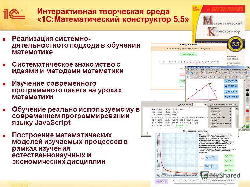 Интерактивная творческая среда «1С:Математический конструктор 5.5» Реализация системно- дятельностного подхода в обучении математике Систематическое знакомство с идеями и методами математики Изучение современного программного пакета на уроках математ