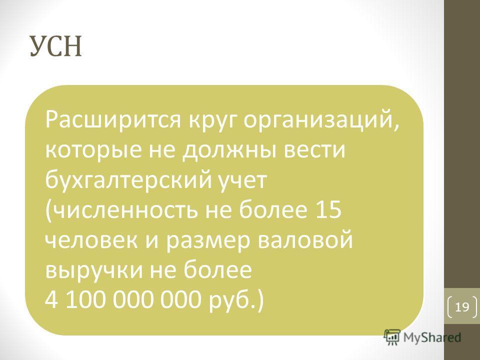 УСН Расширится круг организаций, которые не должны вести бухгалтерский учет (численность не более 15 человек и размер валовой выручки не более 4 100 000 000 руб.) 19