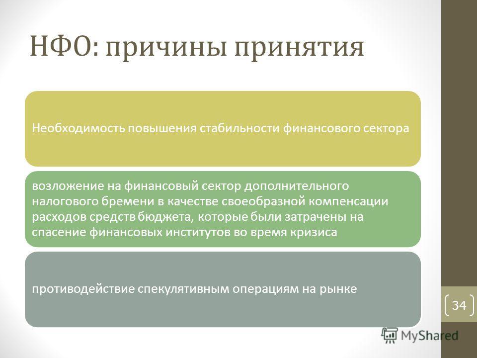 НФО: причины принятия Необходимость повышения стабильности финансового сектора возложение на финансовый сектор дополнительного налогового бремени в качестве своеобразной компенсации расходов средств бюджета, которые были затрачены на спасение финансо