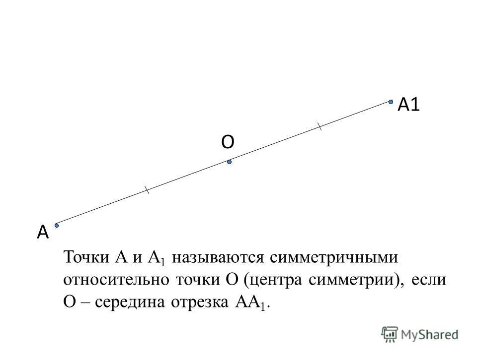 А1 О А Точки А и А 1 называются симметричными относительно точки О (центра симметрии), если О – середина отрезка АА 1.