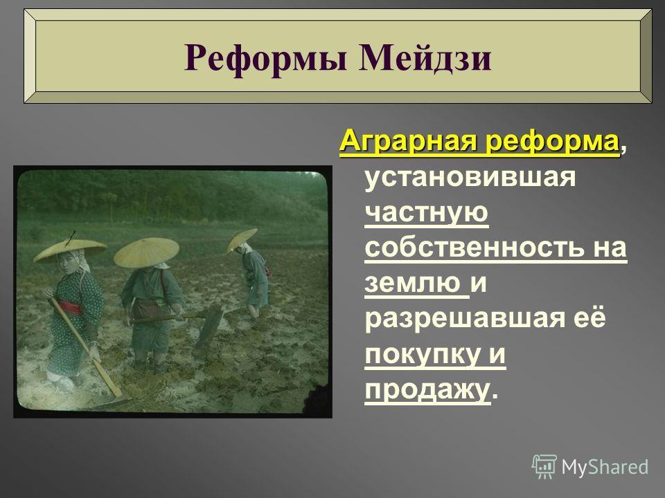 Аграрная реформа Аграрная реформа, установившая частную собственность на землю и разрешавшая её покупку и продажу. Реформы Мейдзи