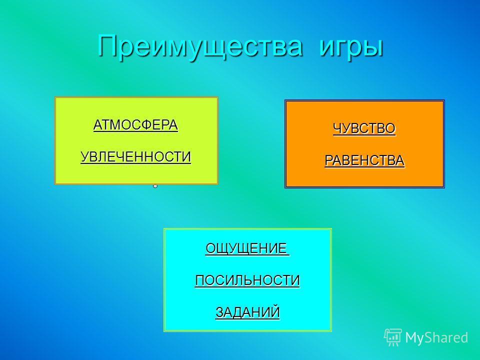 Преимущества игры АТМОСФЕРА УВЛЕЧЕННОСТИ ЧУВСТВО РАВЕНСТВА ОЩУЩЕНИЕ ПОСИЛЬНОСТИ ЗАДАНИЙ