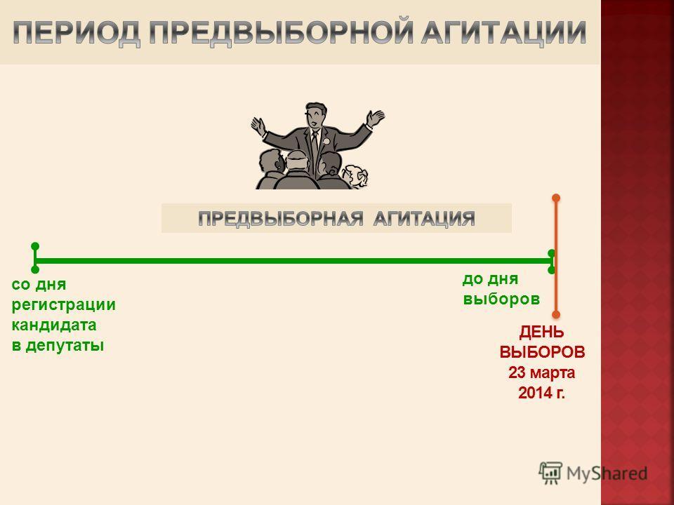 со дня регистрации кандидата в депутаты ДЕНЬ ВЫБОРОВ 23 марта 2014 г. до дня выборов