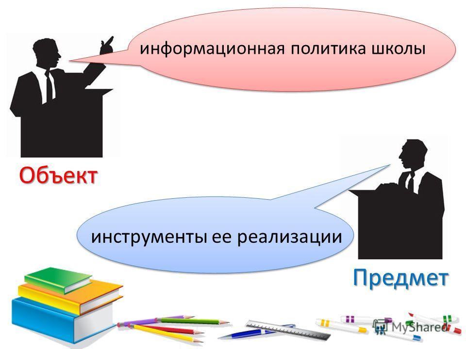 Объект Предмет информационная политика школы инструменты ее реализации