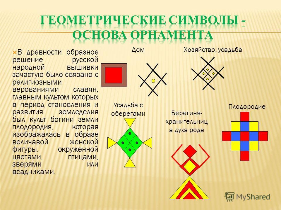 В древности образное решение русской народной вышивки зачастую было связано с религиозными верованиями славян, главным культом которых в период становления и развития земледелия был культ богини земли плодородия, которая изображалась в образе величав