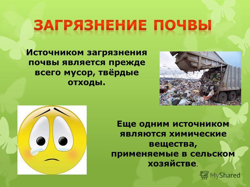 Источником загрязнения почвы является прежде всего мусор, твёрдые отходы. Еще одним источником являются химические вещества, применяемые в сельском хозяйстве.