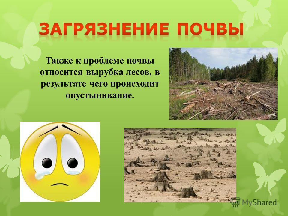 Также к проблеме почвы относится вырубка лесов, в результате чего происходит опустынивание.
