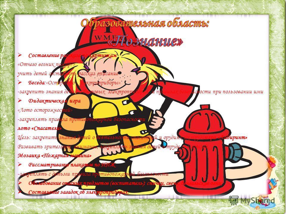 Составление рассказа по картинкам «Отчего возник пожар?» учить детей составлять рассказ описание Беседа:«Осторожно - электроприборы» -закрепить знания детей о бытовых электроприборах и правилах безопасности при пользовании ими Дидактическая игра «Лот