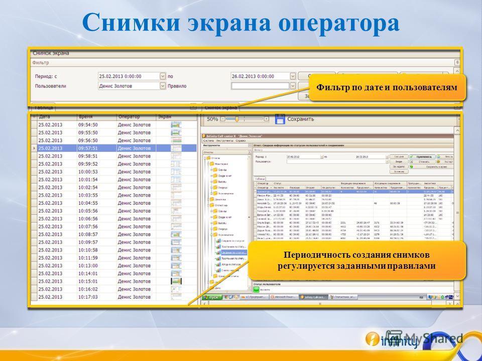 Снимки экрана оператора Фильтр по дате и пользователям Периодичность создания снимков регулируется заданными правилами