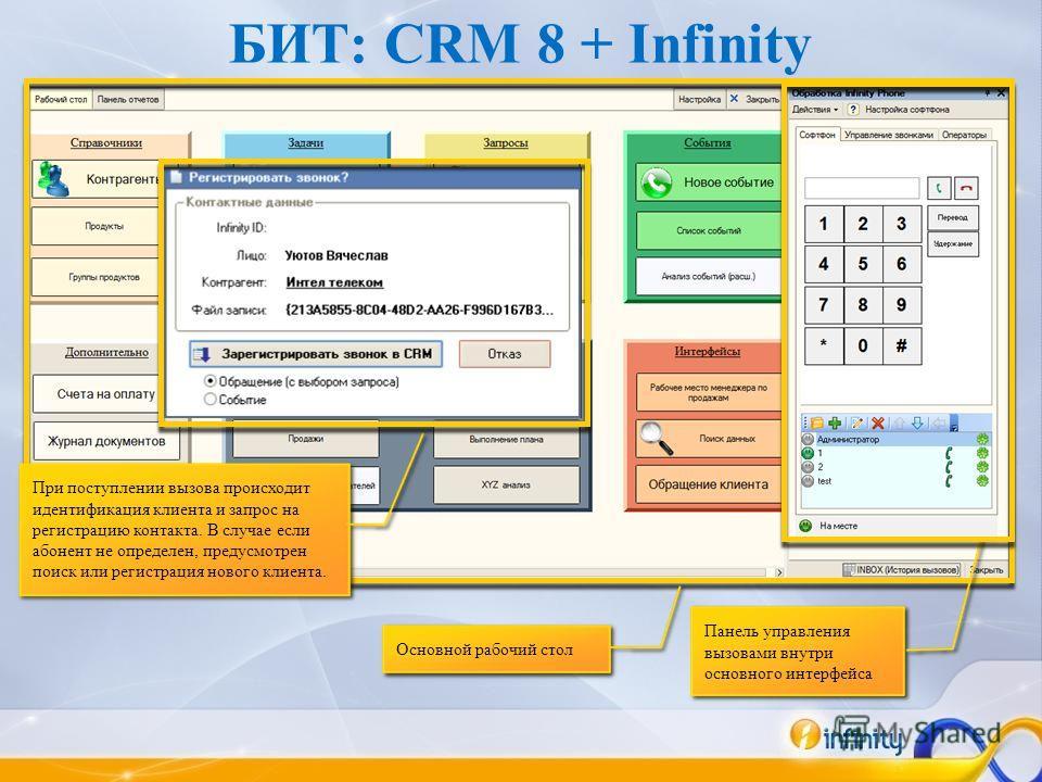 БИТ: CRM 8 + Infinity При поступлении вызова происходит идентификация клиента и запрос на регистрацию контакта. В случае если абонент не определен, предусмотрен поиск или регистрация нового клиента. Панель управления вызовами внутри основного интерфе