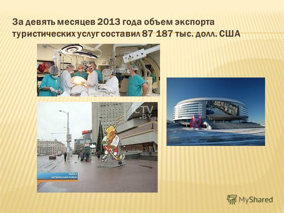 За девять месяцев 2013 года объем экспорта туристических услуг составил 87 187 тыс. долл. США