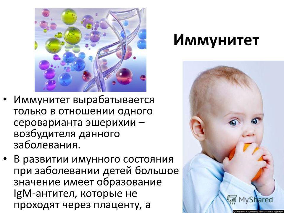 Иммунитет Иммунитет вырабатывается только в отношении одного сероварианта эшерихии – возбудителя данного заболевания. В развитии имунного состояния при заболевании детей большое значение имеет образование IgM-антител, которые не проходят через плацен