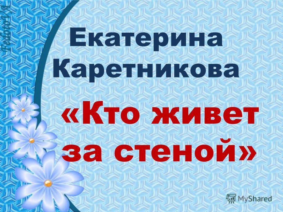 Екатерина Каретникова «Кто живет за стеной»