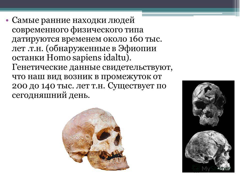 Самые ранние находки людей современного физического типа датируются временем около 160 тыс. лет.т.н. (обнаруженные в Эфиопии останки Homo sapiens idaltu). Генетические данные свидетельствуют, что наш вид возник в промежуток от 200 до 140 тыс. лет т.н