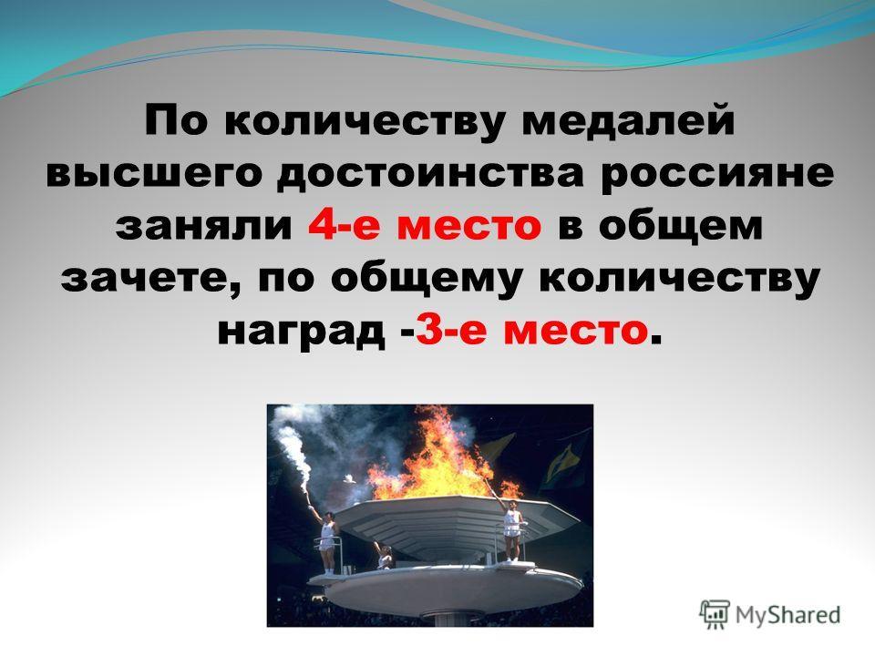 По количеству медалей высшего достоинства россияне заняли 4-е место в общем зачете, по общему количеству наград -3-е место.