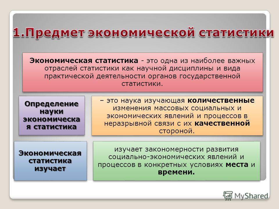 Экономическая статистика - это одна из наиболее важных отраслей статистики как научной дисциплины и вида практической деятельности органов государственной статистики. Экономическая статистика изучает изучает закономерности развития социально-экономич