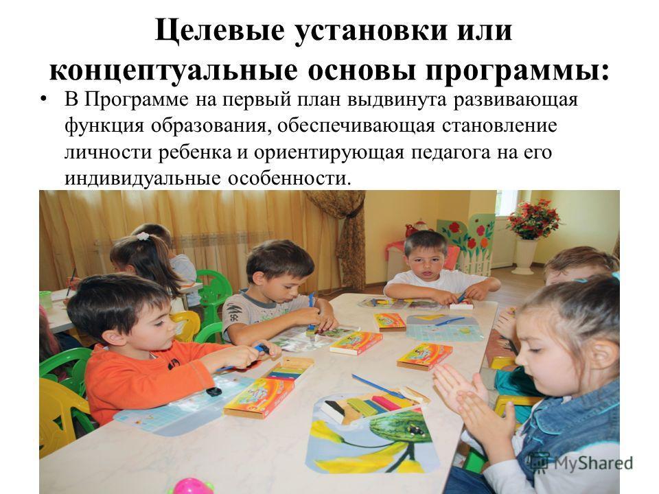 Целевые установки или концептуальные основы программы: В Программе на первый план выдвинута развивающая функция образования, обеспечивающая становление личности ребенка и ориентирующая педагога на его индивидуальные особенности.