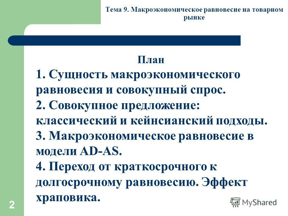 2 Тема 9. Макроэкономическое равновесие на товарном рынке 1. Сущность макроэкономического равновесия и совокупный спрос. 2. Совокупное предложение: классический и кейнсианский подходы. 3. Макроэкономическое равновесие в модели AD-AS. 4. Переход от кр