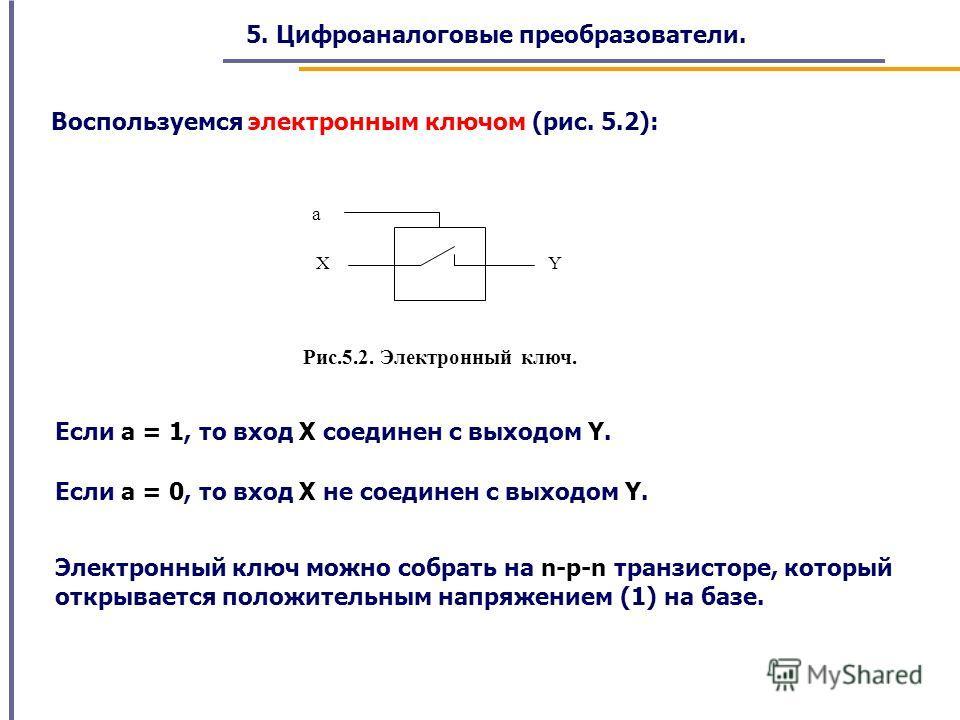 5. Цифроаналоговые преобразователи. Воспользуемся электронным ключом (рис. 5.2): a XY Рис.5.2. Электронный ключ. Если а = 1, то вход X соединен с выходом Y. Если а = 0, то вход X не соединен с выходом Y. Электронный ключ можно собрать на n-p-n транзи
