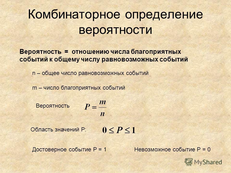 Комбинаторное определение вероятности Вероятность = отношению числа благоприятных событий к общему числу равновозможных событий n – общее число равновозможных событий m – число благоприятных событий Вероятность Область значений Р: Достоверное событие