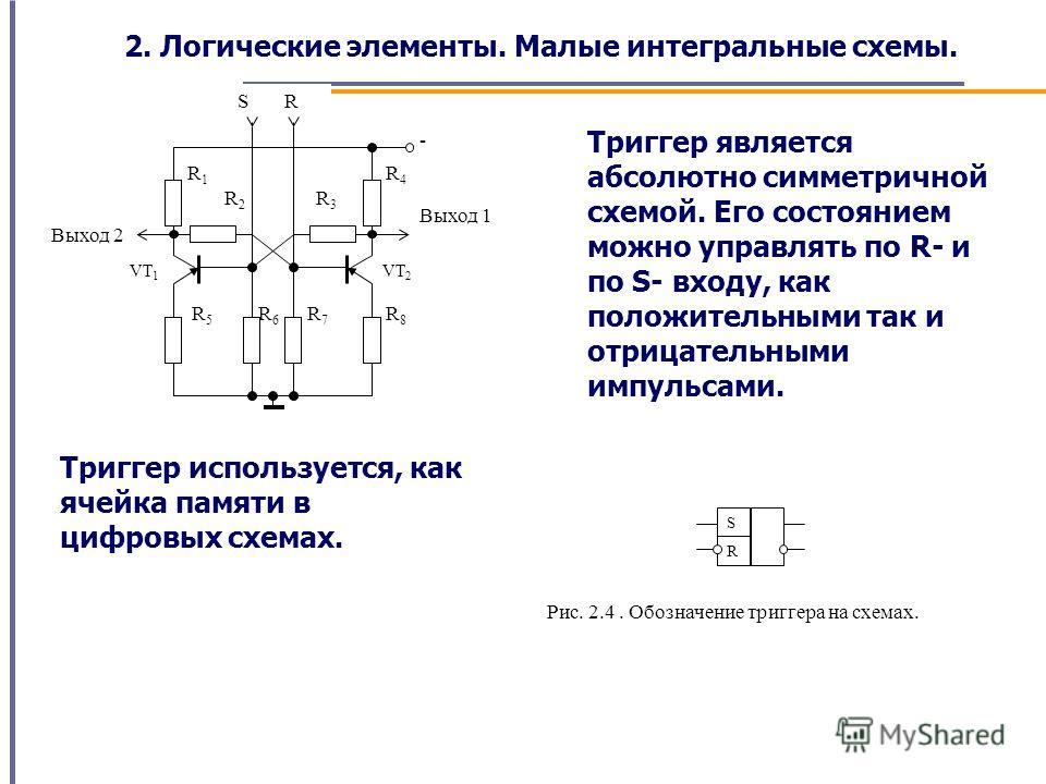 S R Выход 2 Выход 1 R3R3 VT 2 VT 1 R2R2 R1R1 R8R8 R7R7 R6R6 R5R5 R4R4 - Триггер является абсолютно симметричной схемой. Его состоянием можно управлять по R- и по S- входу, как положительными так и отрицательными импульсами. Триггер используется, как