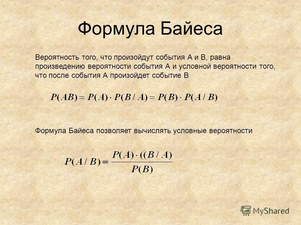 Формула Байеса Вероятность того, что произойдут события А и В, равна произведению вероятности события А и условной вероятности того, что после события А произойдет событие В Формула Байеса позволяет вычислять условные вероятности