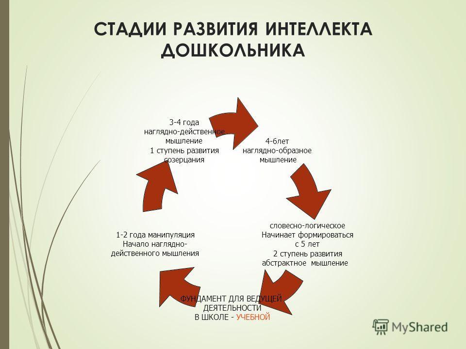СТАДИИ РАЗВИТИЯ ИНТЕЛЛЕКТА ДОШКОЛЬНИКА 4-6лет наглядно-образное мышление словесно-логическое Начинает формироваться с 5 лет 2 ступень развития абстрактное мышление ФУНДАМЕНТ ДЛЯ ВЕДУЩЕЙ ДЕЯТЕЛЬНОСТИ В ШКОЛЕ - УЧЕБНОЙ 1-2 года манипуляция Начало нагля