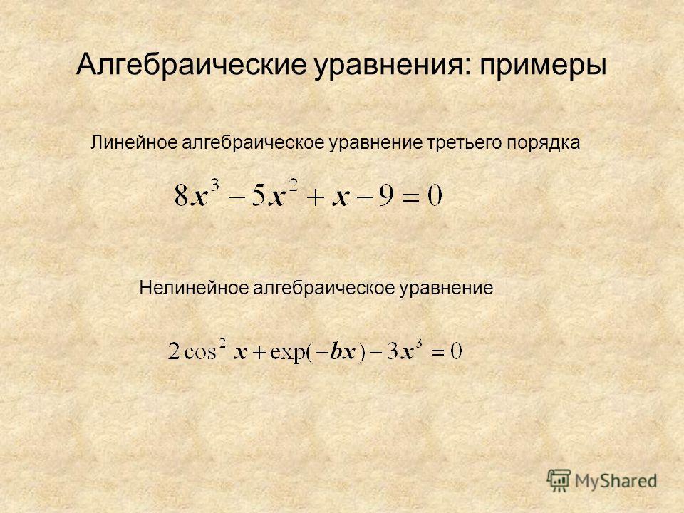 Алгебраические уравнения: примеры Линейное алгебраическое уравнение третьего порядка Нелинейное алгебраическое уравнение