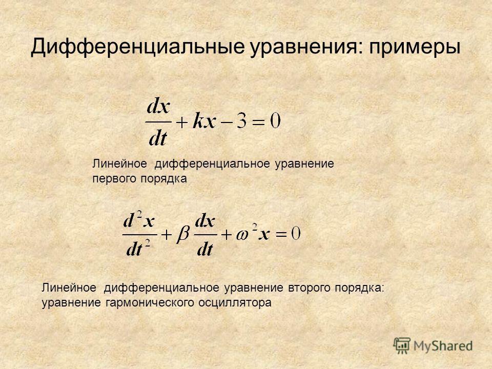 Дифференциальные уравнения: примеры Линейное дифференциальное уравнение первого порядка Линейное дифференциальное уравнение второго порядка: уравнение гармонического осциллятора