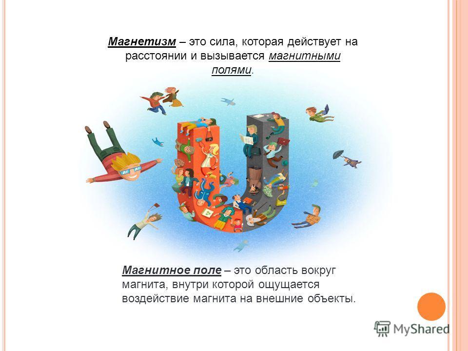 Магнетизм – это сила, которая действует на расстоянии и вызывается магнитными полями. Магнитное поле – это область вокруг магнита, внутри которой ощущается воздействие магнита на внешние объекты.