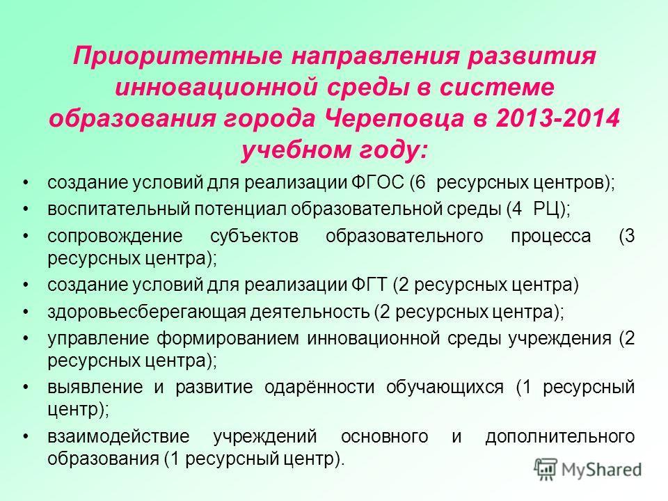 Приоритетные направления развития инновационной среды в системе образования города Череповца в 2013-2014 учебном году: создание условий для реализации ФГОС (6 ресурсных центров); воспитательный потенциал образовательной среды (4 РЦ); сопровождение су
