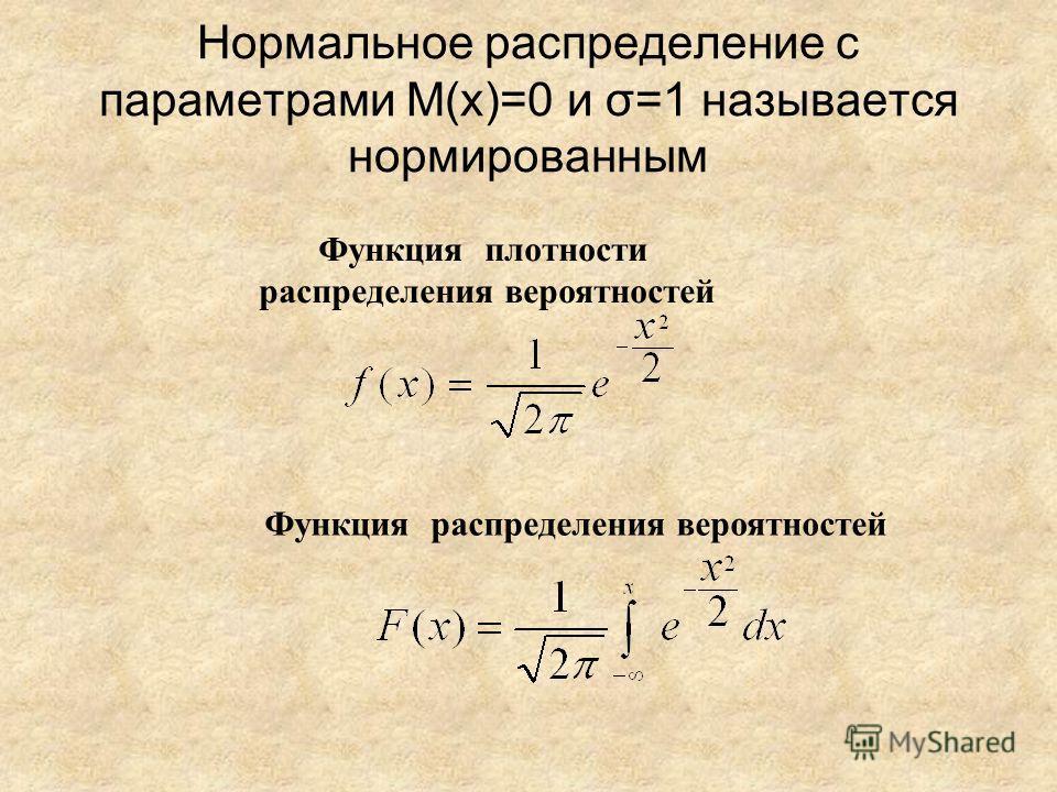 Нормальное распределение с параметрами M(x)=0 и σ=1 называется нормированным Функция плотности распределения вероятностей Функция распределения вероятностей