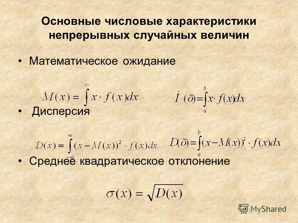 Основные числовые характеристики непрерывных случайных величин Математическое ожидание Дисперсия Среднее квадратическое отклонение