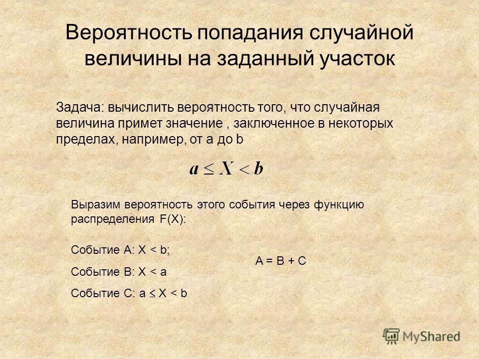 Вероятность попадания случайной величины на заданный участок Задача: вычислить вероятность того, что случайная величина примет значение, заключенное в некоторых пределах, например, от a до b Выразим вероятность этого события через функцию распределен