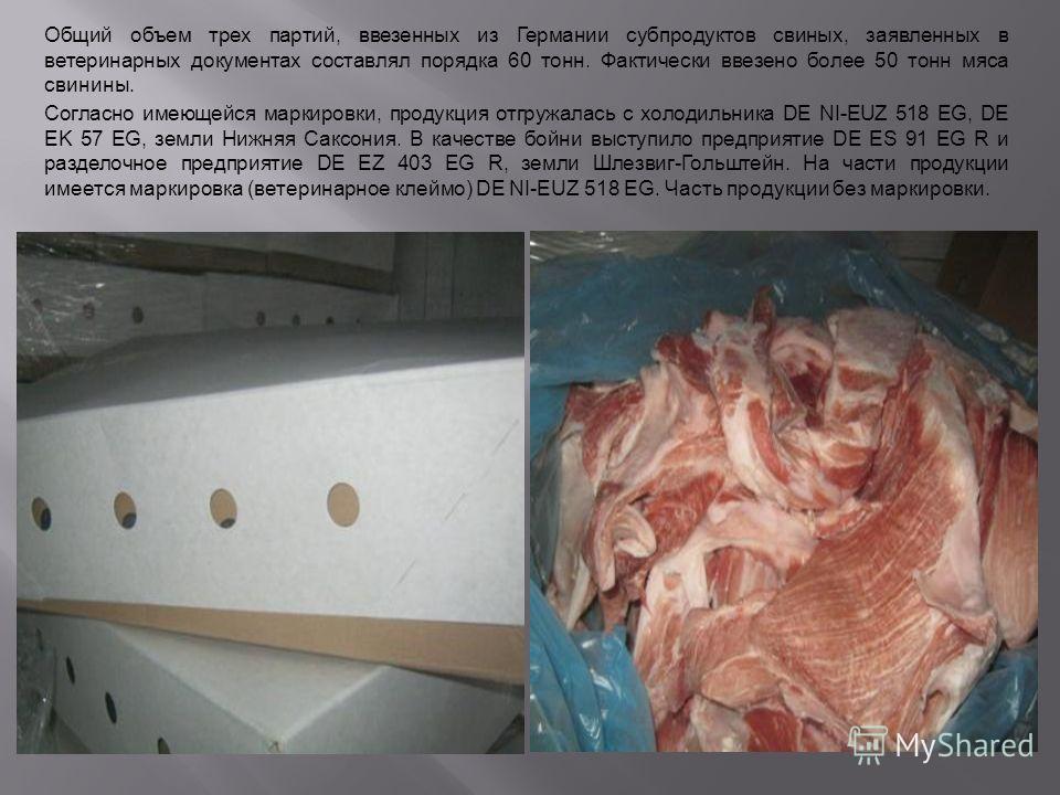 1 Общий объем трех партий, ввезенных из Германии субпродуктов свиных, заявленных в ветеринарных документах составлял порядка 60 тонн. Фактически ввезено более 50 тонн мяса свинины. Согласно имеющейся маркировки, продукция отгружалась с холодильника D