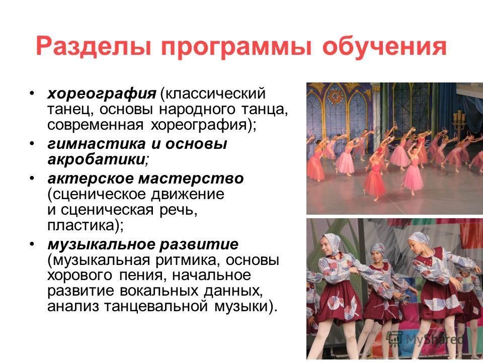 Разделы программы обучения хореография (классический танец, основы народного танца, современная хореография); гимнастика и основы акробатики; актерское мастерство (сценическое движение и сценическая речь, пластика); музыкальное развитие (музыкальная