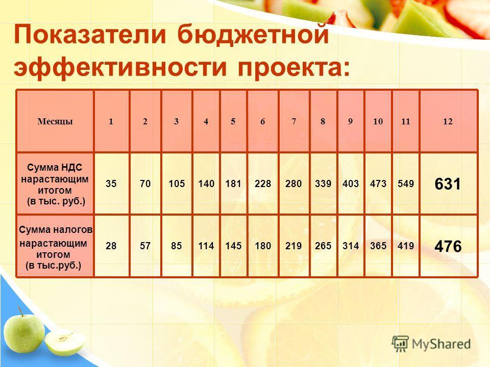 Показатели бюджетной эффективности проекта: 476 419365314265219180145114855728 631 5494734033392802281811401057035 121110987654321Месяцы Сумма НДС нарастающим итогом (в тыс. руб.) Сумма налогов нарастающим итогом (в тыс.руб.)