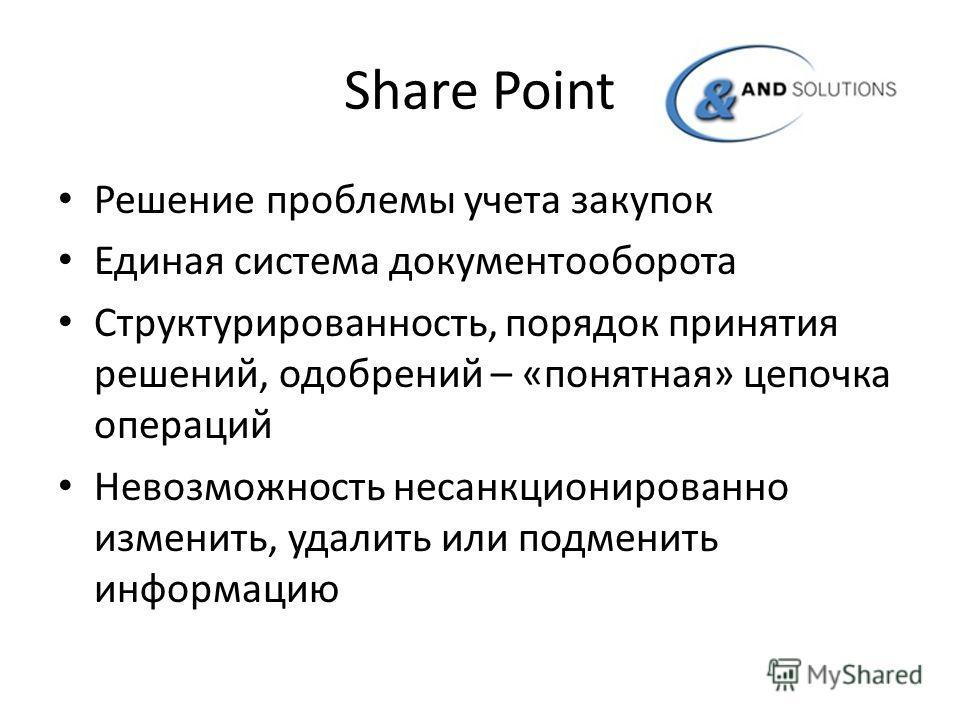 Share Point Решение проблемы учета закупок Единая система документооборота Структурированность, порядок принятия решений, одобрений – «понятная» цепочка операций Невозможность несанкционированно изменить, удалить или подменить информацию