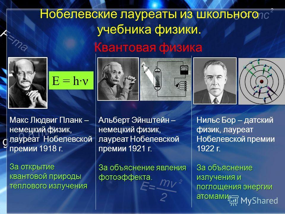 Квантовая физика Макс Людвиг Планк – немецкий физик, лауреат Нобелевской премии 1918 г. За открытие квантовой природы теплового излучения Е = hν Альберт Эйнштейн – немецкий физик, лауреат Нобелевской премии 1921 г. За объяснение явления фотоэффекта.