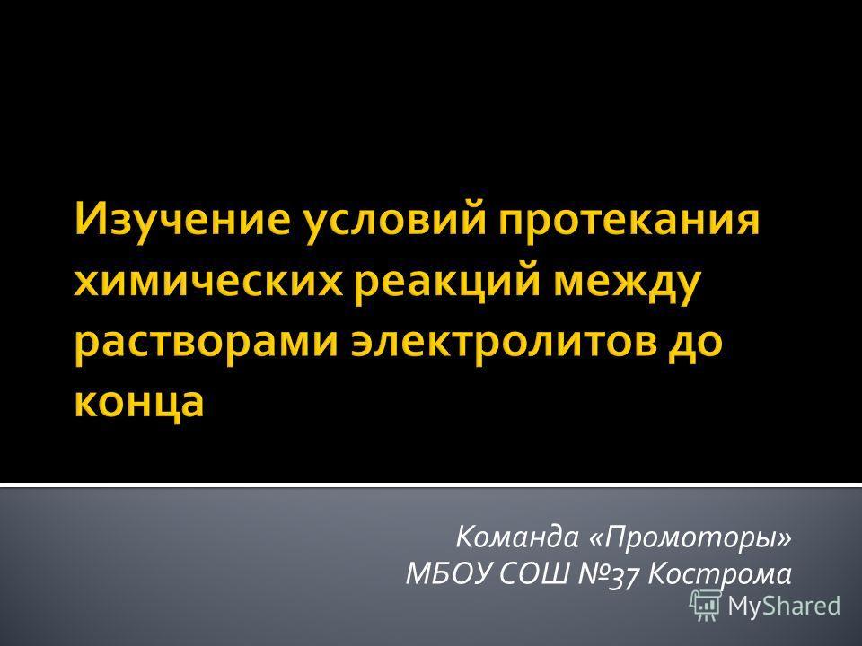 Команда «Промоторы» МБОУ СОШ 37 Кострома