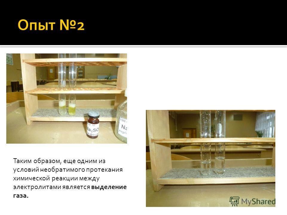 Таким образом, еще одним из условий необратимого протекания химической реакции между электролитами является выделение газа.